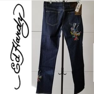Ed Hardy wolf drooling top hat jeans size 11/12